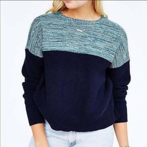 UO BDG Blue color block marled sweater